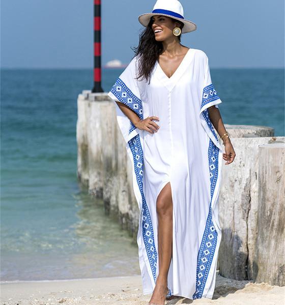 Туніка пляжна жіноча довга з вишивкою, батал, біла