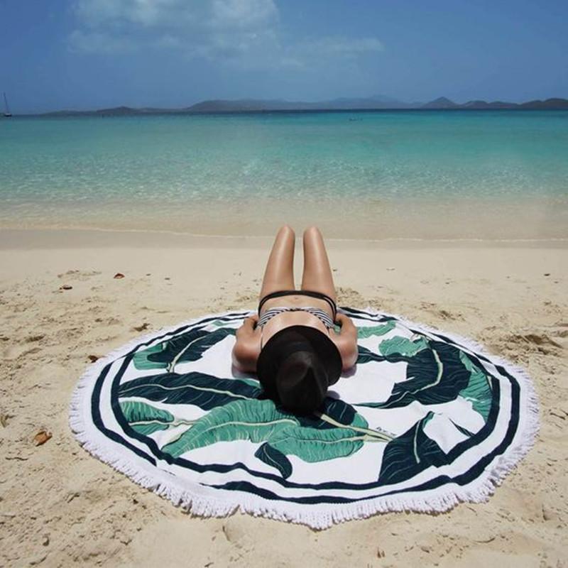 Коврик-подстилка пляжный круглый с растительным принтом и бахромой, хлопок