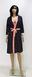Красивый комплект халат с сорочкой на тонких бретелях с принтом 48-58 р