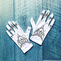 Перчатки хлопковые белые с принтом Мехенди