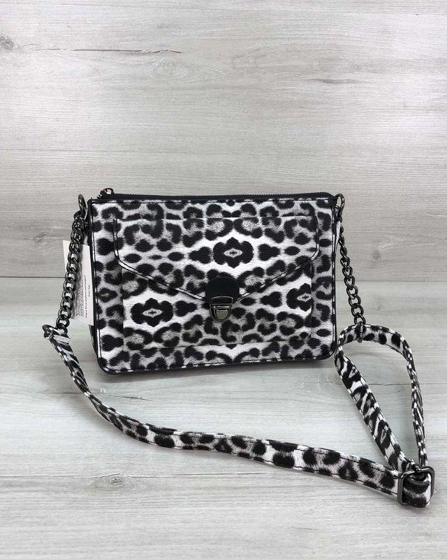 Маленькая Женская Сумка Клатч Rika на Плечо Черно-Белый Леопард Welassie
