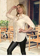 Женская рубашка, удлиненная с полукруглым низом, из ткани софт