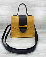 Горчичная молодежная сумка женская через плечо маленькая кросс-боди портфель 58802, фото 1