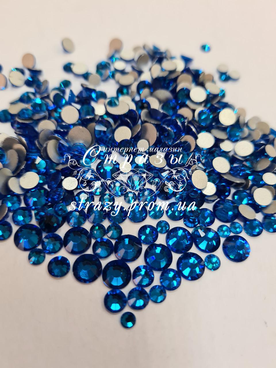"Стразы Capri Blue Микс размеров 1400шт (ss12,ss16,ss20,ss30) ""Crystal Premium"""