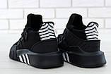 Мужские кроссовки Adidas EQT в стиле Адидас Эквипмент ЧЕРНЫЕ (Реплика ААА+), фото 2