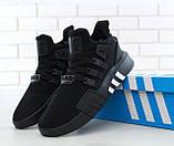 Мужские кроссовки Adidas EQT в стиле Адидас Эквипмент ЧЕРНЫЕ (Реплика ААА+), фото 6
