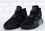 Мужские кроссовки Adidas EQT в стиле Адидас Эквипмент ЧЕРНЫЕ (Реплика ААА+), фото 4