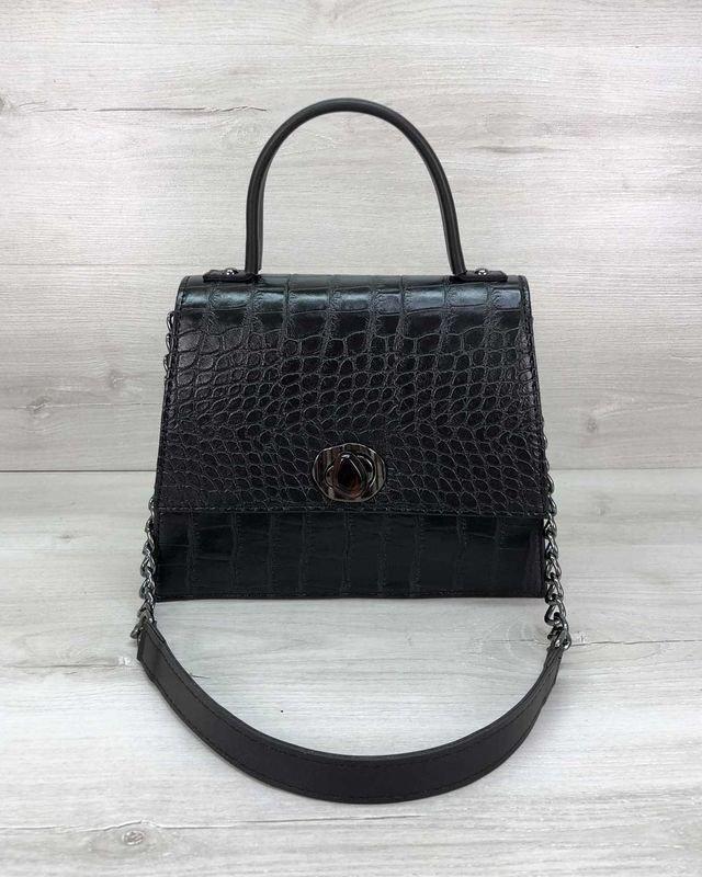 Маленькая женская сумка Lana на плечо черная Welassie