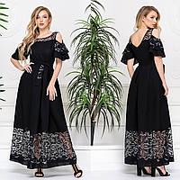 """Черное летнее платье из льна размеры 42-54 """"Линда"""""""