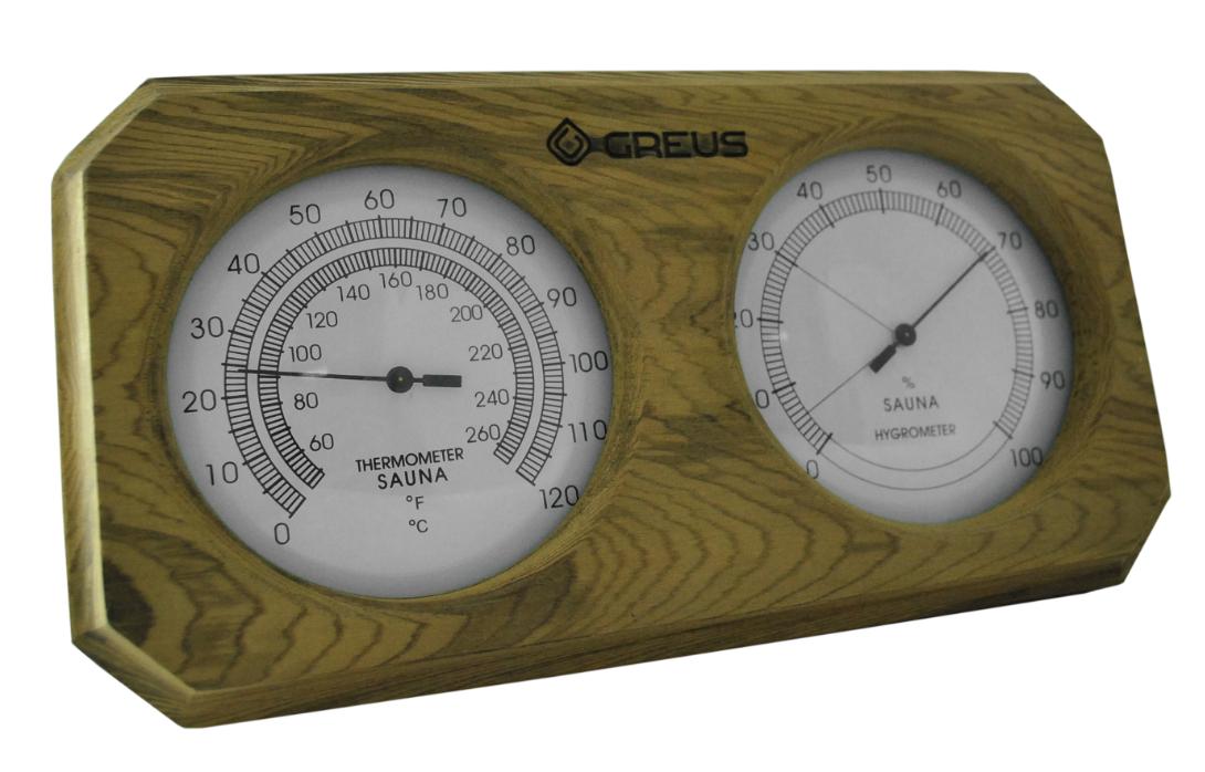 Термогігрометр Greus кедр 26х14 для лазні та сауни