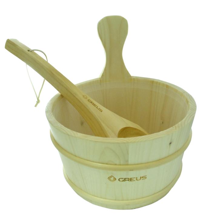 Набір Greus сосна (зграя 4 л + черпак) з пластиковою вставкою для лазні та сауни