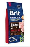 Корм Brit Premium by Nature Adult L Chiken для собак крупных пород с курицей 15 кг