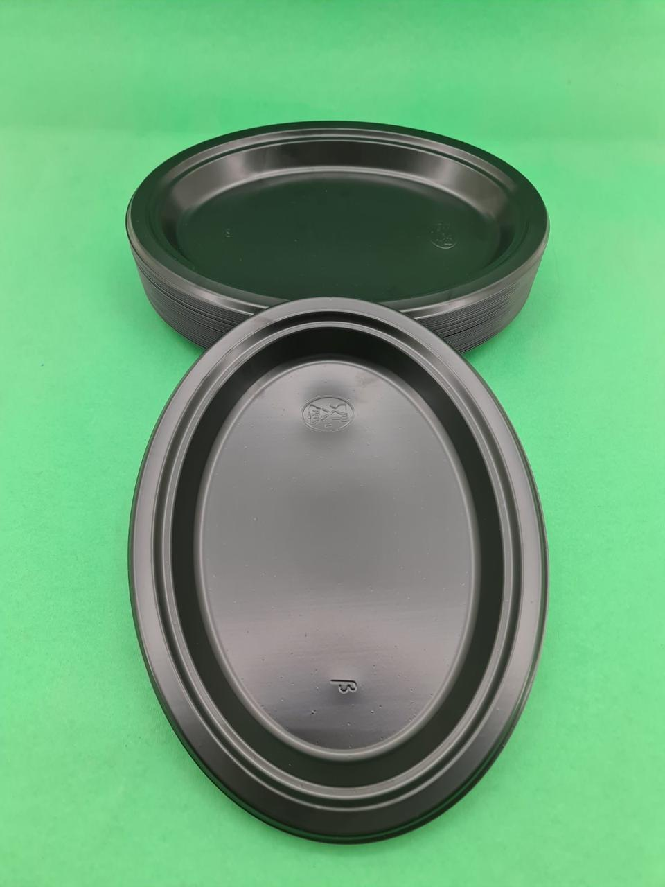 Тарілка овальна 260 mm Чорна (50шт)