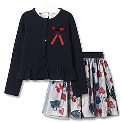 Комплект для девочки 3 в 1 Модница, синий Baby Rose (80)