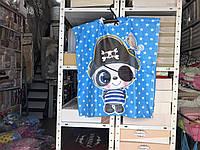 Детское яркое полотенце пончо Панда Пират Цвет голубой велюр-махра 3D принт 100% Хлопок 60*120