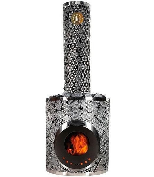 Дровяная печь для бани и сауны IKI Original Plus со стеклянной дверкой и прямым дымоходом