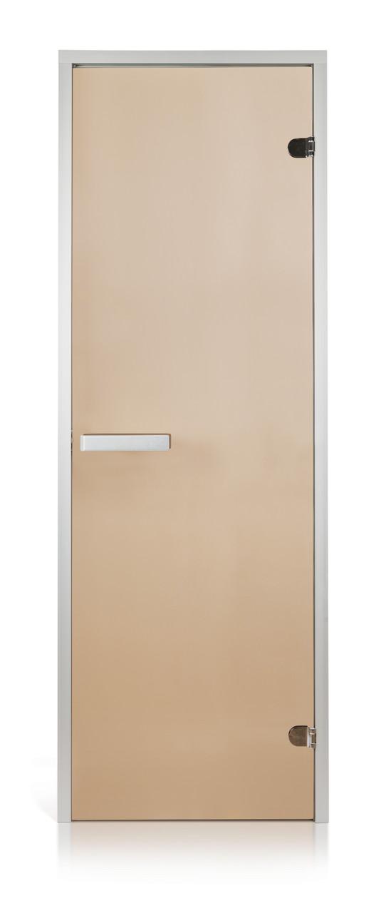 Стеклянная дверь для хамама INTERCOM алюминий 80х200, прозрачная бронза