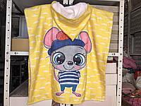 Детское яркое полотенце пончо Мышка Цвет желтый велюр-махра 3D принт 100% Хлопок 60*120