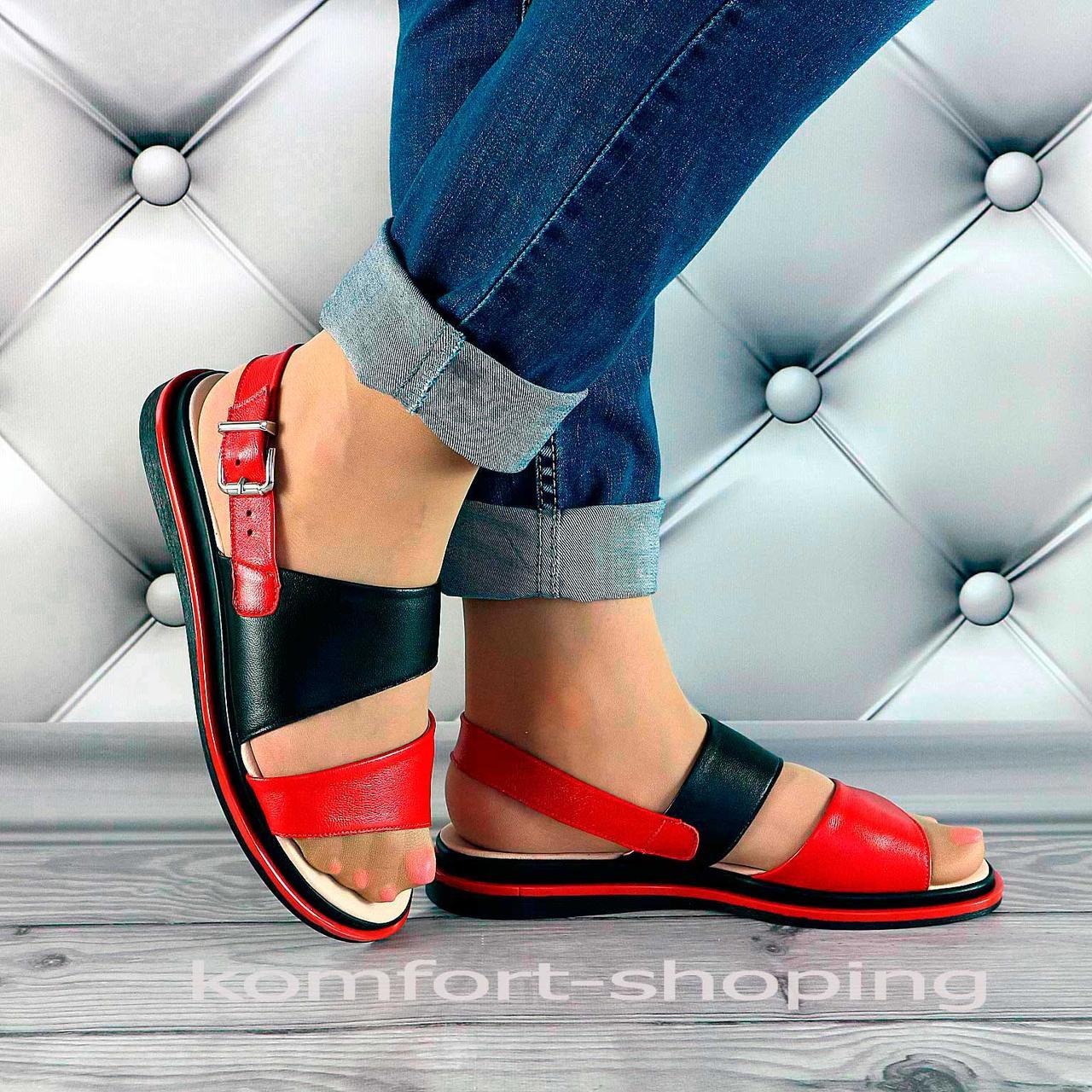 Женские босоножки кожаные, красные+черный V 1302
