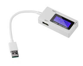 USB тестер тока, напряжения, мощности 4-30В 0-5А 2xUSB с таймером