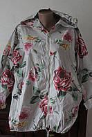 Кардиган женский коттон цветы батал