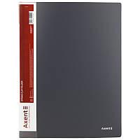 Папка-скоросшиватель Axent А4 серый с пружиной, бок. карм. (1304-03-A)