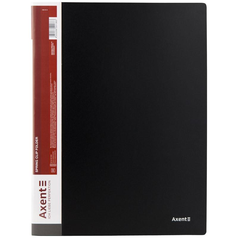 Папка-скоросшиватель Axent А4 черный с пружиной, бок. карм. (1304-01-A)