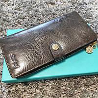 Красивый серый женский кожаный кошелек купюрница