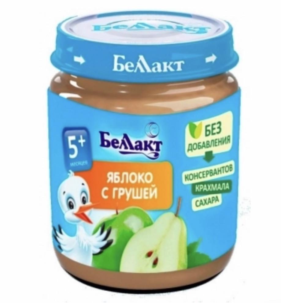 Пюре фруктовое яблоко и груша Беллакт (Беларусь) с 5 месяцев 100 гр