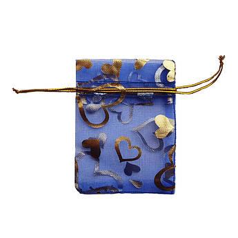 Подарочный мешочек из органзы 7х9 см синий