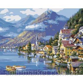 """Картина по номерам """"Деревня у подножья горы"""""""