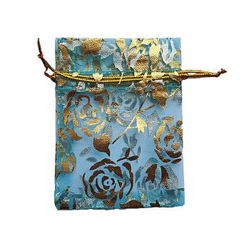 Подарочный мешочек из органзы 7х9 см бирюзовый
