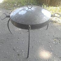 Сковорода походная с крышкой, для пикника (Ø 400 мм, борт 50 мм, съемные ручки и ножки)