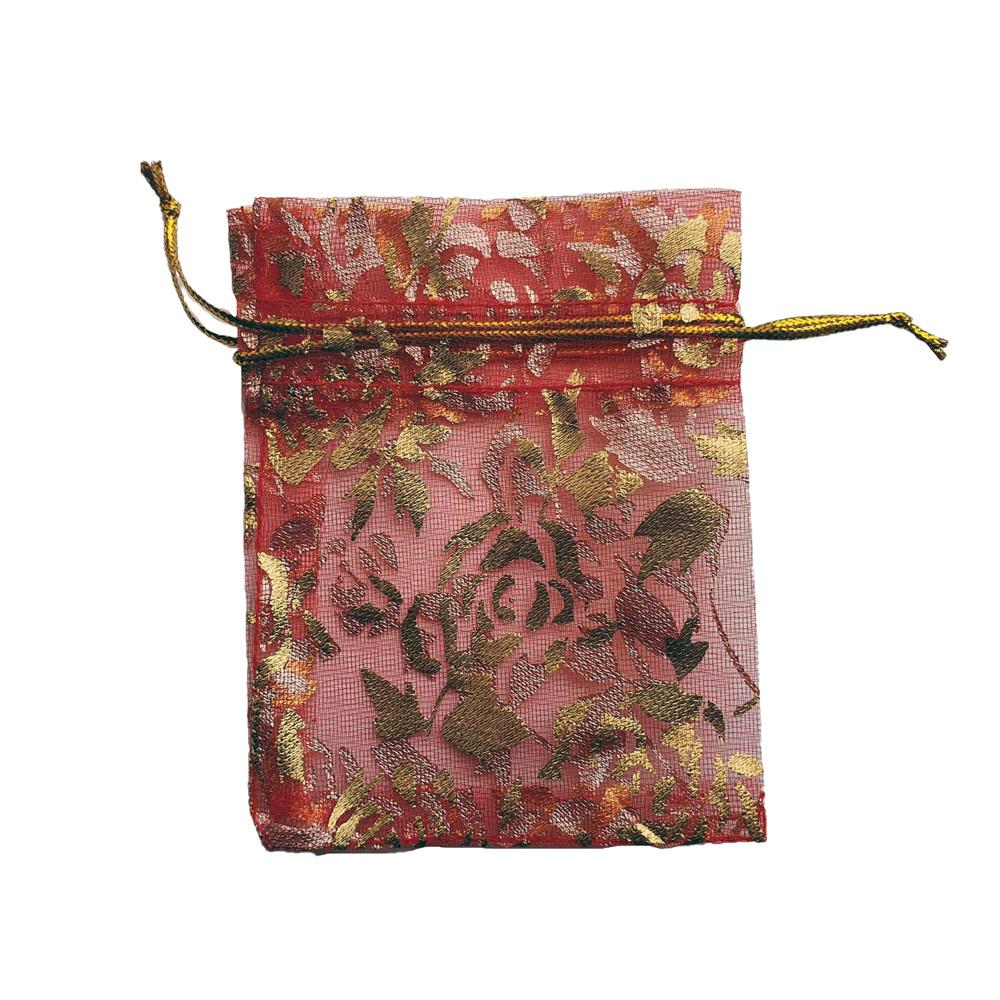 Подарочный мешочек из органзы 7х9 см красный