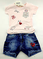 Детский костюм 2 3 4 и 5 лет Турция для девочки детские костюмы летний с шортами