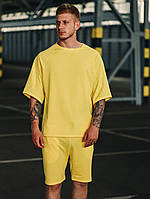 Футболка + шорты комплект набор костюм летний мужской стильный модный яркий желтый Оверсайз