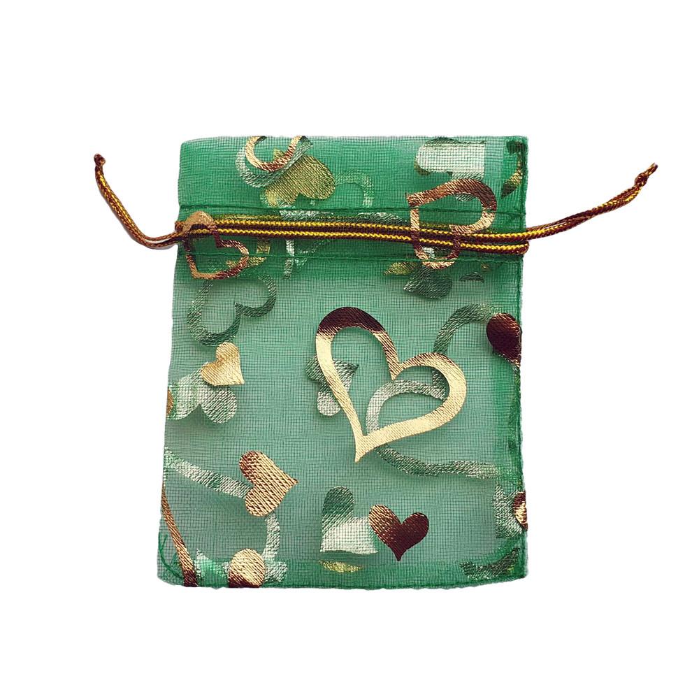 Подарочный мешочек из органзы 7х9 см зеленый