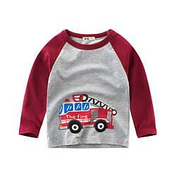 Лонгслив для мальчика Пожарная машина 27 KIDS (90) 10 лет, 140, 140, Бордовый