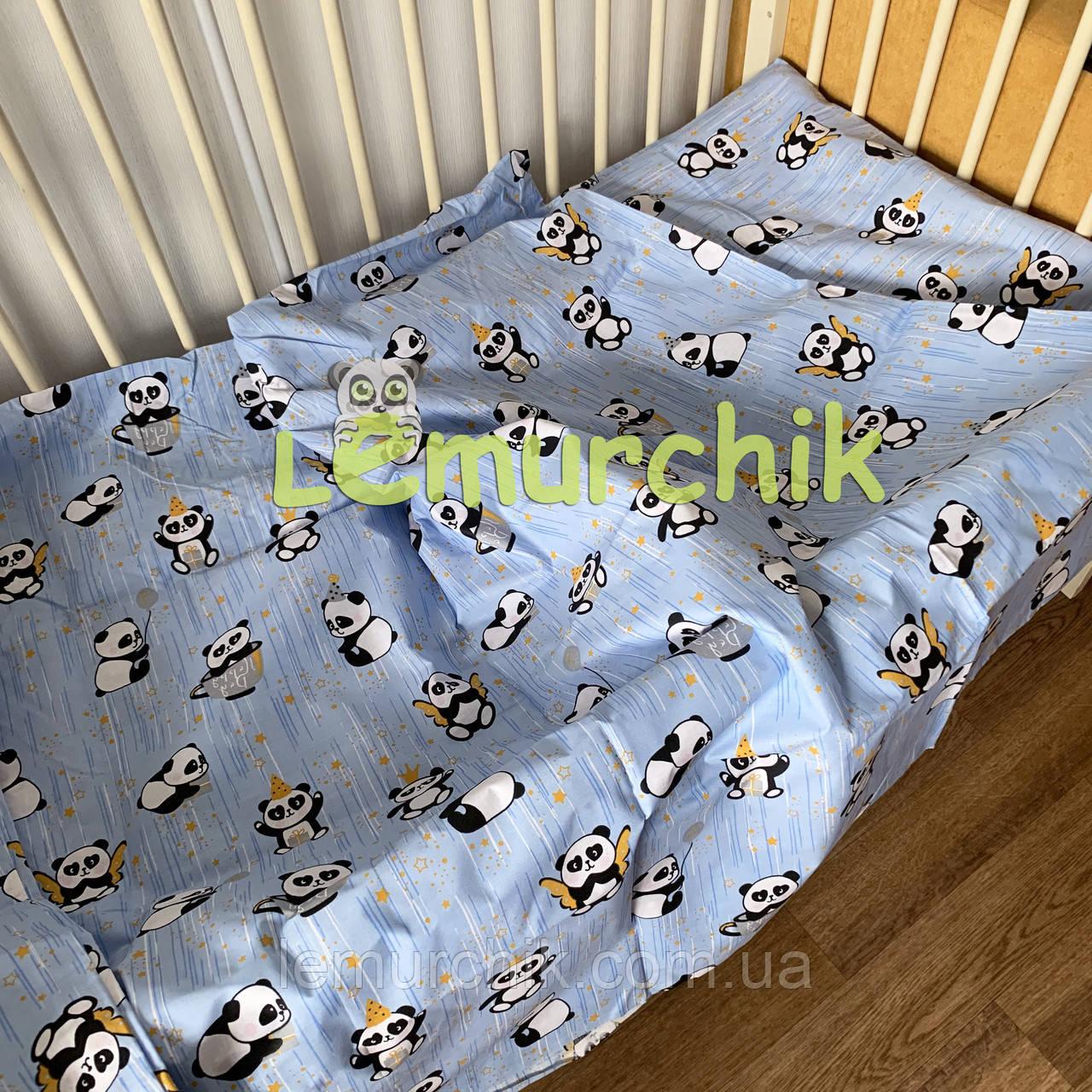 Постельный набор в детскую кроватку (3 предмета) Панды голубой