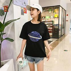 Футболка женская Сатурн, черный Berni Fashion (One Size)