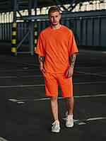 Футболка + шорты комплект набор костюм летний мужской стильный модный яркий оранжевый Оверсайз