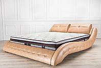 Кожаная двуспальная кровать Sonata Mobel B105 Светло-коричневая, КОД: 1563935