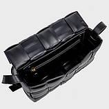 Сумка клатч жіночий в стилі Bottega Veneta Padded Cassette. Трендова сумочка (чорна), фото 9