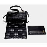 Сумка клатч жіночий в стилі Bottega Veneta Padded Cassette. Трендова сумочка (чорна), фото 8