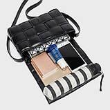 Сумка клатч жіночий в стилі Bottega Veneta Padded Cassette. Трендова сумочка (чорна), фото 7