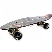 Пенни борд (скейт) с бесшумными светящимися колесами, ручка, 60х16 см (Пресс) 32040