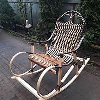 """Плетеное кресло-качалка из лозы """"Буковое + ротанг """" коричневого цвета, фото 1"""