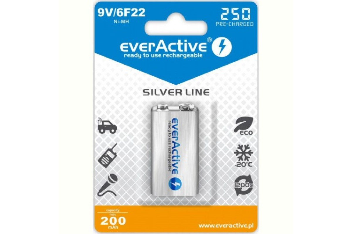 Аккумулятор EverActive EVHRL22-250, Крона, 250 mAh, Ni-MH, блистер 1 шт