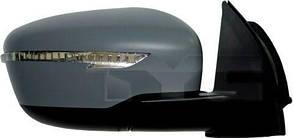 Правое зеркало Ниссан Кашкай 13-17 электрический привод; с обогревом; под покраску; выпуклое; с указ. поворота; без подсветки