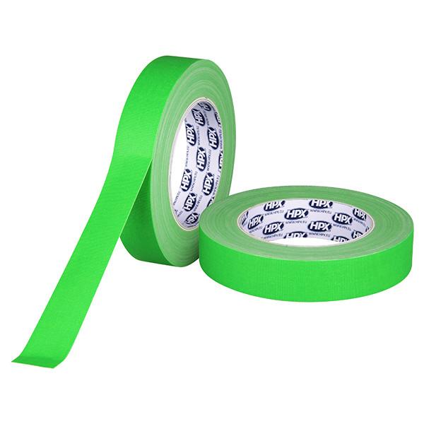 Зеленый флуорисцентный матовый тейп HPX FLUO GAFFER PRO - 25мм х 25м